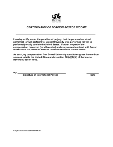 CERTIFICATION OF FOREIGN SOURCE INCOME