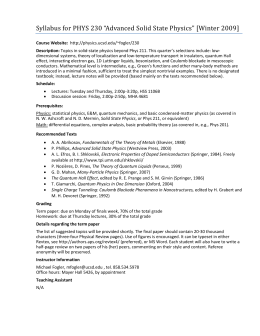 "Syllabus for PHYS 230 ""Advanced Solid State Physics"" [Winter 2009]"