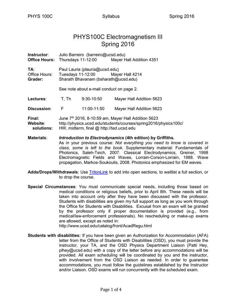 PHYS100C Electromagnetism III Spring 2016 PHYS 100C Syllabus
