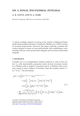 ON A ZONAL POLYNOMIAL INTEGRAL