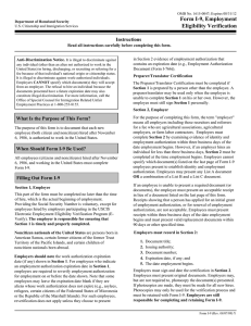Form I-9, Employment Eligibility Verification Instructions