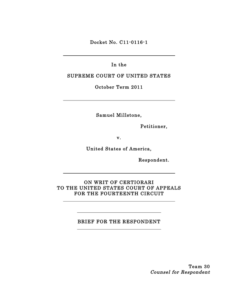 Docket No  C11-0116-1 In the SUPREME COURT OF UNITED STATES
