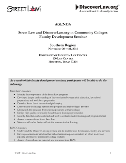 AGENDA Street Law and DiscoverLaw.org in Community Colleges Faculty Development Seminar
