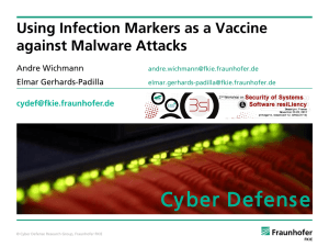 Cy ber Defens e  Using Infection Markers as a Vaccine