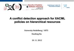 A conflict detection approach for XACML policies on hierarchical resources Xiaofeng Xia