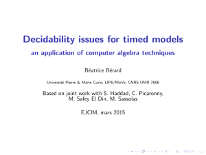 Decidability issues for timed models an application of computer algebra techniques