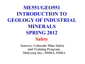 ME551/GEO551 INTRODUCTION TO GEOLOGY OF INDUSTRIAL MINERALS
