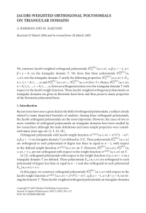 JACOBI-WEIGHTED ORTHOGONAL POLYNOMIALS ON TRIANGULAR DOMAINS