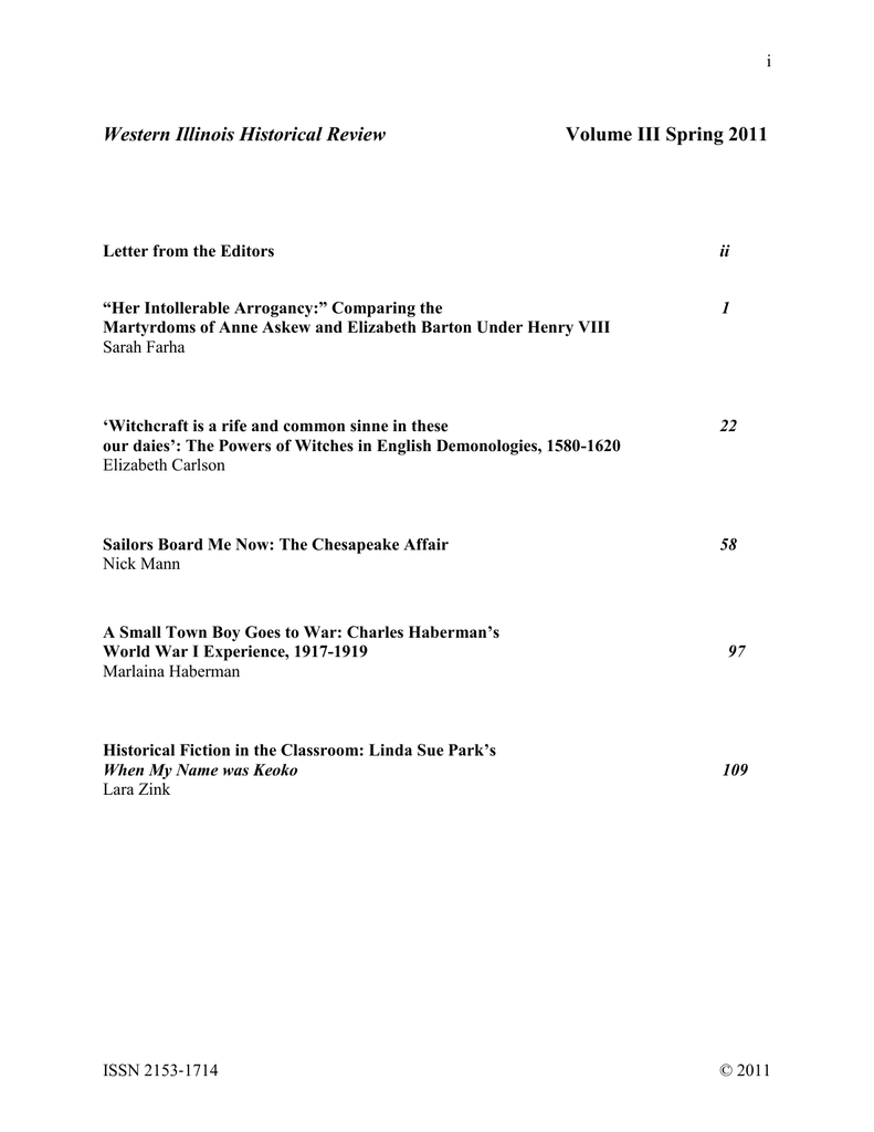 Western Illinois Historical Review Volume III Spring 2011