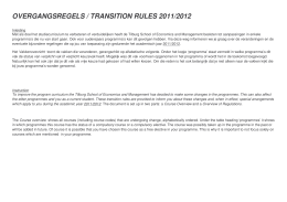 OVERGANGSREGELS / TRANSITION RULES 2011/2012
