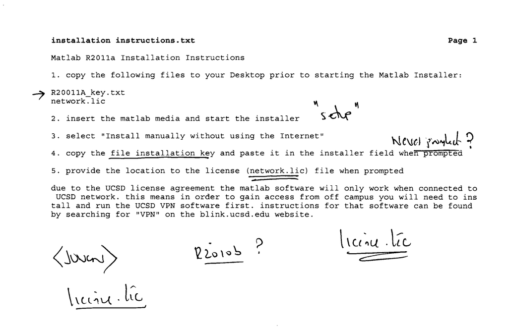 installation instructions txt Page 1 Matlab R2011a