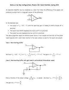 Notes on Op Amp Configurations; Physics 120: David Kleinfeld, Spring...