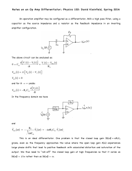 Notes on an Op Amp Differentiator; Physics 120: David Kleinfeld,...