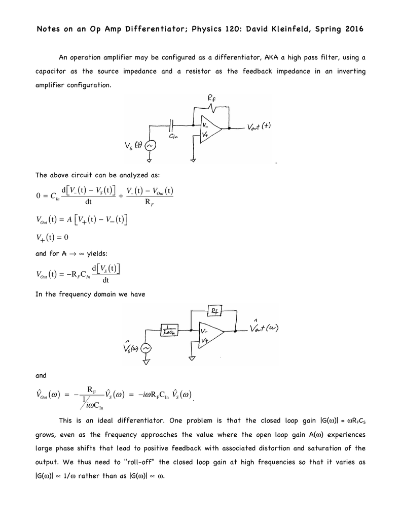 Notes on an Op Amp Differentiator
