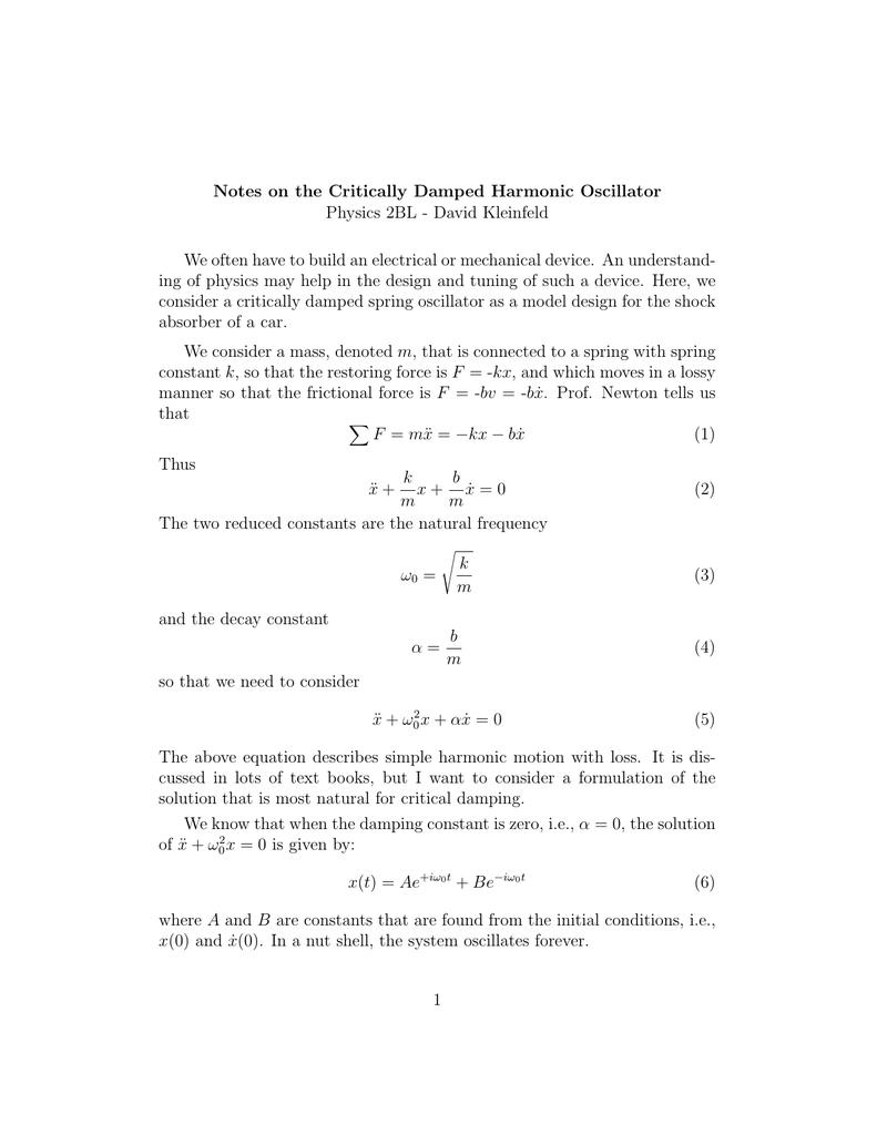 Uncategorized Simple Harmonic Motion Worksheet damped harmonic motion equation jennarocca notes on the critically oscillator