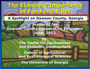 The Economic Importance of Food and Fiber Prepared for Dawson County Cooperative Extension