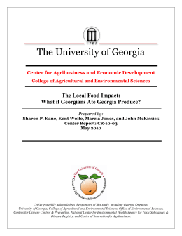 The University of Georgia The Local Food Impact: