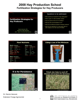 2008 Hay Production School Fertilization Strategies for Hay Producers