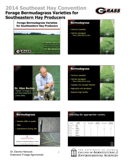 2014 Southeast Hay Convention Forage Bermudagrass Varieties for Southeastern Hay Producers