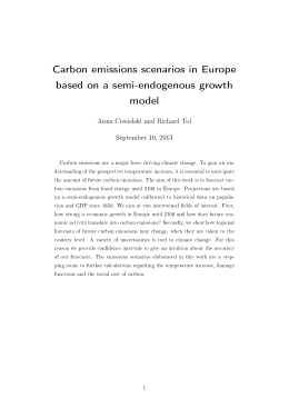 Carbon emissions scenarios in Europe based on a semi-endogenous growth model