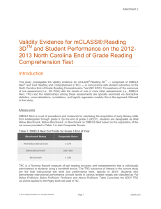 Validity Evidence for mCLASS®:Reading 3D and Student Performance on the 2012-