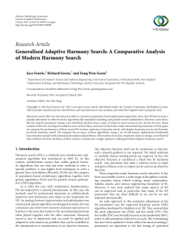 Research Article Generalised Adaptive Harmony Search: A Comparative Analysis Jaco Fourie,