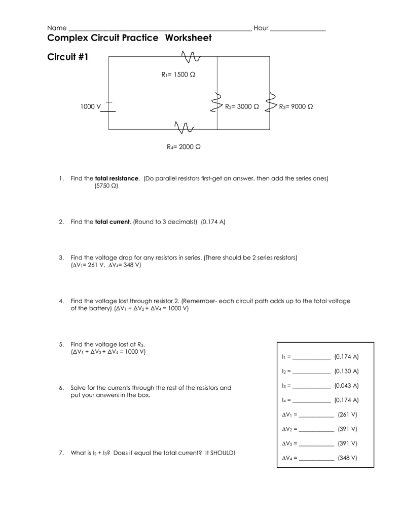 Complex Circuit Practice Worksheet Circuit #1