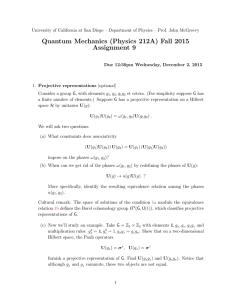 Quantum Mechanics (Physics 212A) Fall 2015 Assignment 9