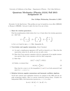 Quantum Mechanics (Physics 212A) Fall 2015 Assignment 10