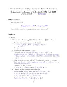 Quantum Mechanics C (Physics 212A) Fall 2015 Worksheet 3 – Solutions