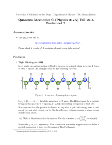 Quantum Mechanics C (Physics 212A) Fall 2015 Worksheet 7 Announcements