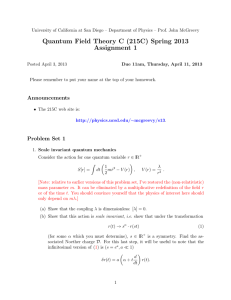 Quantum Field Theory C (215C) Spring 2013 Assignment 1