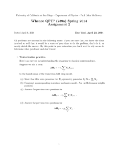 Whence QFT? (239a) Spring 2014 Assignment 2