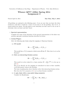 Whence QFT? (239a) Spring 2014 Assignment 3