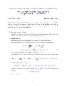 Whence QFT? (239a) Spring 2014 Assignment 3 – Solutions