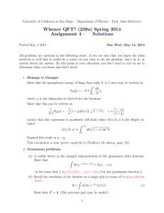 Whence QFT? (239a) Spring 2014 Assignment 4 – Solutions