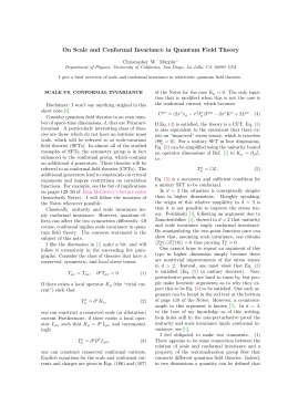 On Scale and Conformal Invariance in Quantum Field Theory y