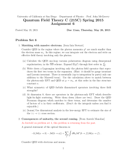 Quantum Field Theory C (215C) Spring 2015 Assignment 6