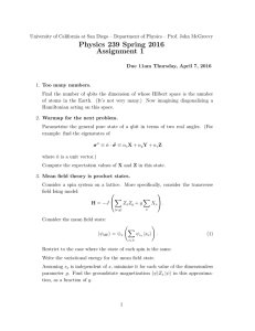 Physics 239 Spring 2016 Assignment 1