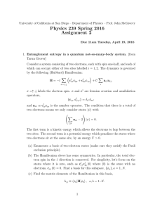 Physics 239 Spring 2016 Assignment 2