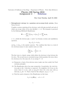 Physics 239 Spring 2016 Assignment 2 – Solutions