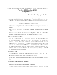 Physics 239 Spring 2016 Assignment 3