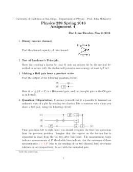 Physics 239 Spring 2016 Assignment 4