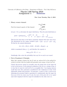Physics 239 Spring 2016 Assignment 4 – Solutions