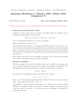 Quantum Mechanics C (Physics 130C) Winter 2015 Assignment 6