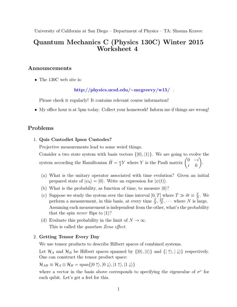Quantum Mechanics Worksheet - Taylorgangclothingline
