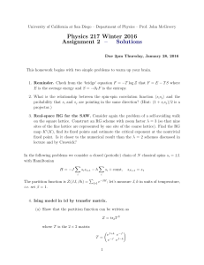 Physics 217 Winter 2016 Assignment 2 – Solutions
