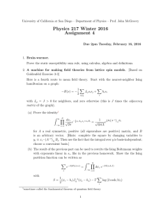 Physics 217 Winter 2016 Assignment 4