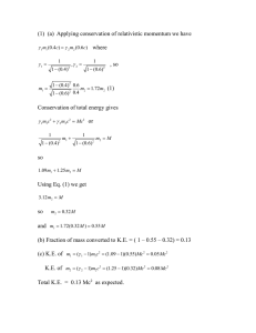(1)  (a)  Applying conservation of relativistic momentum we...  where , so
