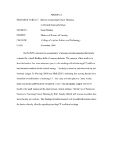 ABSTRACT  RESEARCH  SUBJECT:  Barriers to teaching Critical Thinking
